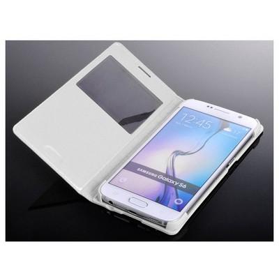 Microsonic View Slim Kapaklı Deri Samsung Galaxy S6 Kılıf Beyaz Cep Telefonu Kılıfı