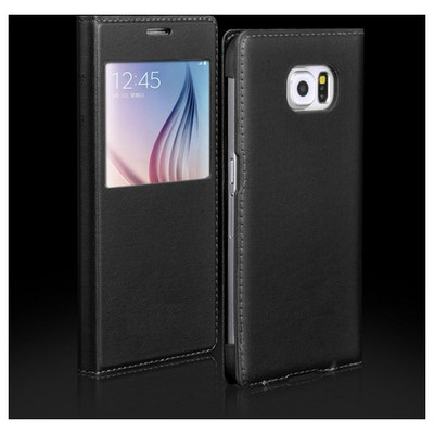 Microsonic View Slim Kapaklı Deri Samsung Galaxy S6 Kılıf Siyah Cep Telefonu Kılıfı