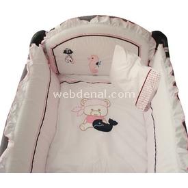 Sunny Baby 728 Lüks Oyun Parkı Uyku Seti Ayıcıklı Pembe Uyku Setleri