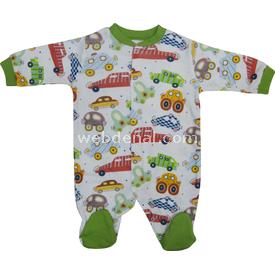 Baby Center S81371 Büyük Arabalı Erkek Bebek Patikli Tulum Yeşil 0-3 Ay (56-62 Cm) Bebek Tulumu