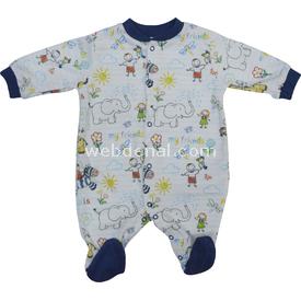 Baby Center S76292 Çizgili Hayvanlı Bebek Patikli Tulum Indigo 0-3 Ay (56-62 Cm) Bebek Tulumu