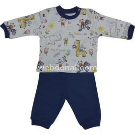 Baby Center S79040 Omuzdan Çıtçıtlı Bebek Pijama Takımı Indigo 6-9 Ay (68-74 Cm) Erkek Bebek Pijaması