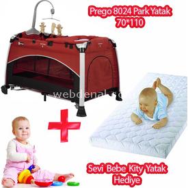 Prego 8024 Yummy  70x110+sevi Bebe Kitty Yatak Hediye Kırmızı Park Yatak