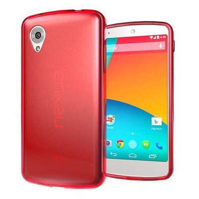 Microsonic Transparent Soft Lg Nexus 5 Kılıf Kırmızı Cep Telefonu Kılıfı