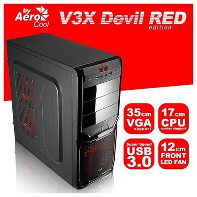 Aerocool V3X Advance Red 600w Gaming Kasa (AE-V3XA600R80)