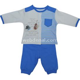 Baby Center S80367 Kemanlı Önden Çıtçıtlı Bebek 2 Li Takım Mavi 0-3 Ay (56-62 Cm) Erkek Bebek Takım