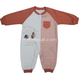 Baby Center S80954 Kemanlı Önden Çıtçıtlı Erkek Bebek Tulum Kiremit 0 Ay (50-56 Cm) Bebek Tulumu