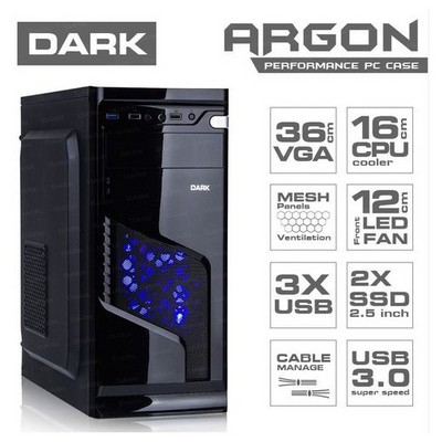Dark Argon 500w Mid Tower Kasa (DKCHARGON500)