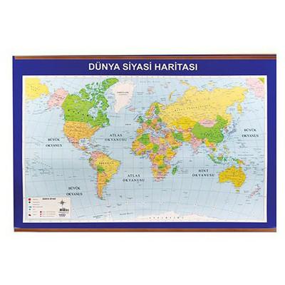 Panda 406 Dünya Siyasi + Fiziki Çitalı Harita 70x100 Cm Eğitim Gereci