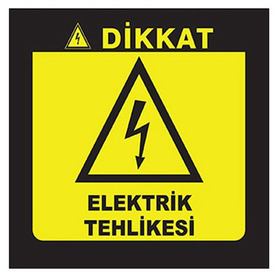 Crea Tiket Creatiket 1183 Dikkat Elektrik Tehlikesi Uyarı Etiketi Bilgilendirme Levhası