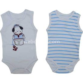 Zeyland K-61h1201 Bebek 2 Li Atlet Bady Beyaz-çizgili 9-12 Ay (74-80 Cm) Erkek Bebek Body