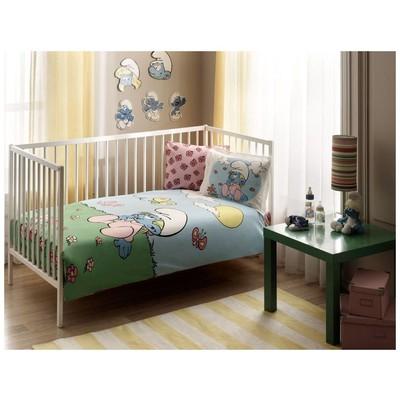 Taç Şirinler Pink Baby Bebek Nevresim Takımı Ev Tekstili
