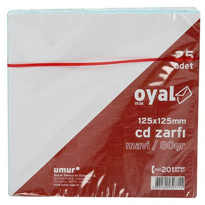 Oyal Cd Zarfı 125 X 125 Mm 80 Gr 25'li Zarflar