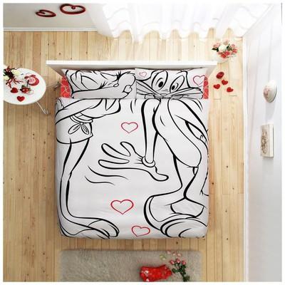 Taç Bugs Bunny & Lola Amour Nevresim Takımı Çift Kişilik Ev Tekstili
