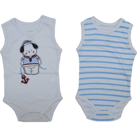 Zeyland K-61h1201 Bebek 2 Li Atlet Bady Beyaz-çizgili 6-9 Ay (68-74 Cm) Erkek Bebek Body