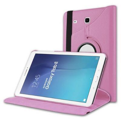 Microsonic Samsung Galaxy Tab E 8.0'' T377 Kılıf 360 Rotating Stand Deri Pembe Tablet Kılıfı
