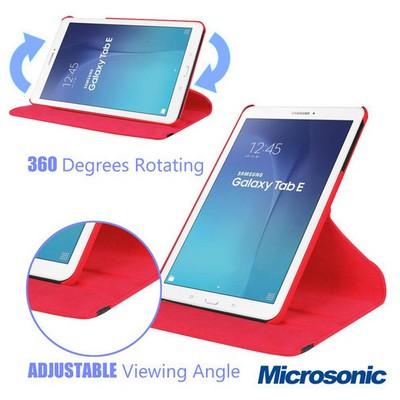 Microsonic Samsung Galaxy Tab E 8.0'' T377 Kılıf 360 Rotating Stand Deri Kırmızı Tablet Kılıfı