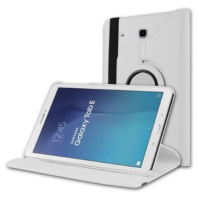 Microsonic Samsung Galaxy Tab E 8.0'' T377 Kılıf 360 Rotating Stand Deri Beyaz Tablet Kılıfı