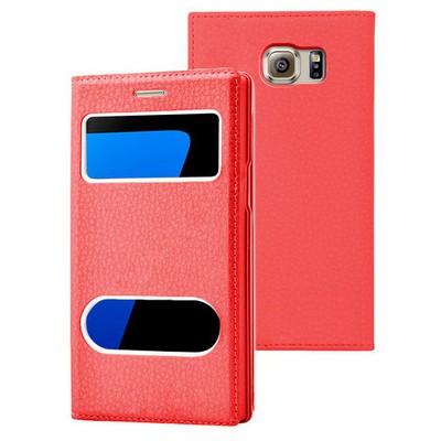 Microsonic Samsung Galaxy S7 Edge Kılıf Gizli Mıknatıslı View Delux Kırmızı Cep Telefonu Kılıfı
