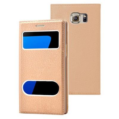 Microsonic Samsung Galaxy S7 Edge Kılıf Gizli Mıknatıslı View Delux Gold Cep Telefonu Kılıfı