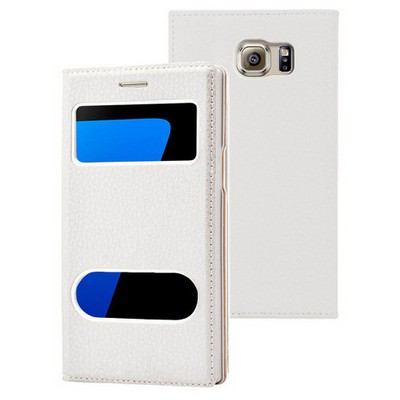 Microsonic Samsung Galaxy S7 Edge Kılıf Gizli Mıknatıslı View Delux Beyaz Cep Telefonu Kılıfı