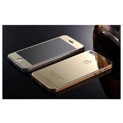 Microsonic Iphone 5s Mirror Temperli Cam Ekran Koruyucu Ön + Arka Gold Ekran Koruyucu Film