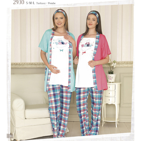Haluk Baha Pembe M Hamile Üçlü Takım Pijama Gecelik & Pijama