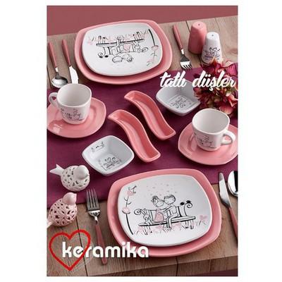 Keramika Set Kosem Kahvaltı 14 Parca Beyaz 004-pembe 550 Tatlı Dus A Kahvaltı Takımı