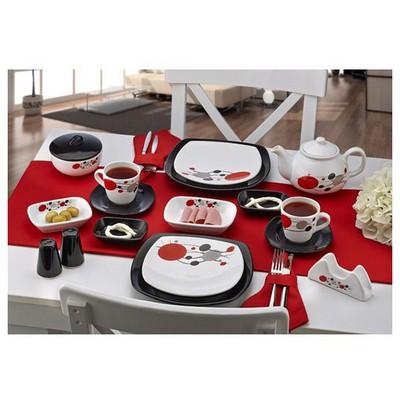 Keramika Set Kosem Kahvaltı 34 Parca Beyaz 004-sıyah 650 Dıva A Kahvaltı Takımı