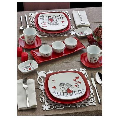 Keramika Set Kosem Kahvaltı 14 Parca Beyaz 004-kırmızı 506 Kera-mıra A Kahvaltı Takımı