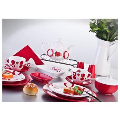 Keramika Set Ege Kahvaltı 34 Parca Beyaz004-kırmızı 506 Straweberry A Kahvaltı Takımı