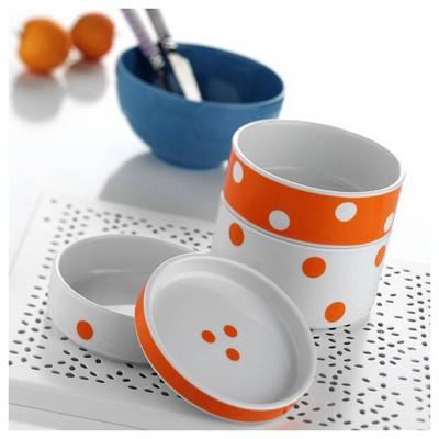 Kütahya Porselen 7519 Desen 4 Parça Katlı Porselen Saklama Kabı Kahvaltı Takımı