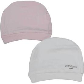 Baby Center S76056 2li Organik Bebek Şapkası Beyaz- Pembe Şapka, Bere, Kulaklık