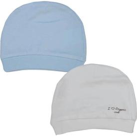 Baby Center S76056 2li Organik Bebek Şapkası Ekru-mavi Şapka, Bere, Kulaklık