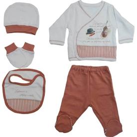 Baby Center S79781 Kemanlı 5li Bebek Zıbın Seti Kiremit 0 Ay (50-56 Cm) Erkek Bebek Body