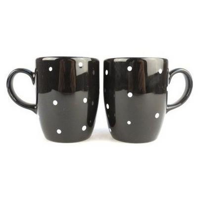 Keramika Kupa Bulut 9 Cm Drops Puantıye Siyah Uzerı Beyaz Bardak, Kupa, Sürahi