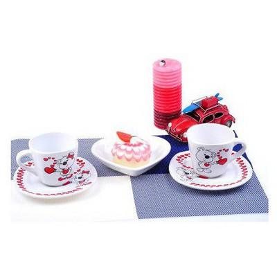 Keramika Takım Cay Yedı Tepe 4 Parca Beyaz 004 Asık Ayıcıklar A Bardak, Kupa, Sürahi