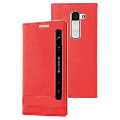 Microsonic Lg K10 Kılıf Gizli Mıknatıslı View Delux Kırmızı Cep Telefonu Kılıfı