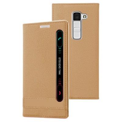 Microsonic Lg K10 Kılıf Gizli Mıknatıslı View Delux Gold Cep Telefonu Kılıfı