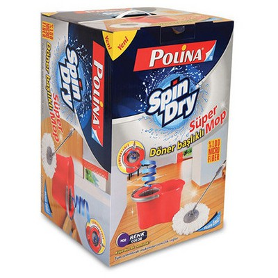 Polikur Polina Spin Dry Temizlik Seti Döner Başlıklı Kova ve Temizlik Setleri