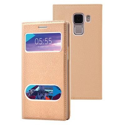 Microsonic Türk Telekom Honor 7 Kılıf Dual View Gizli Mıknatıslı Gold Cep Telefonu Kılıfı
