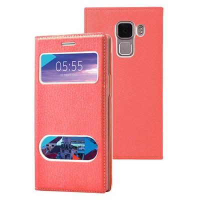 Microsonic Türk Telekom Honor 7 Kılıf Dual View Gizli Mıknatıslı Kırmızı Cep Telefonu Kılıfı