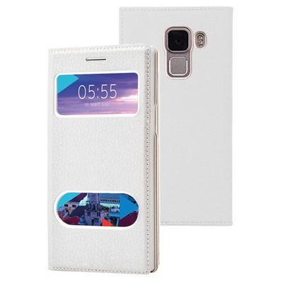 Microsonic Türk Telekom Honor 7 Kılıf Dual View Gizli Mıknatıslı Beyaz Cep Telefonu Kılıfı
