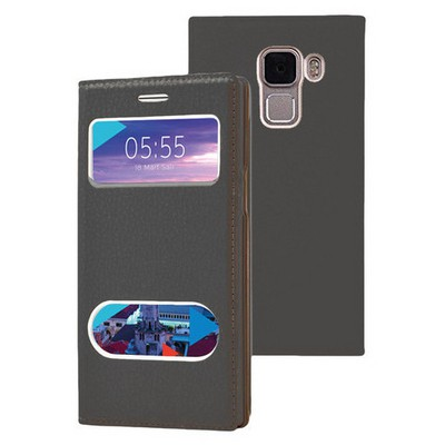 Microsonic Türk Telekom Honor 7 Kılıf Dual View Gizli Mıknatıslı Siyah Cep Telefonu Kılıfı