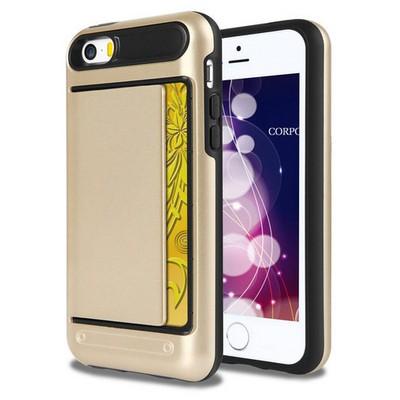 Microsonic Iphone 5s Kılıf Kredi Kartlıklı Cüzdanlı Armor Gold Cep Telefonu Kılıfı