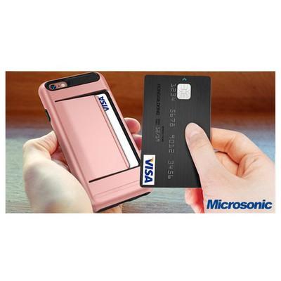 Microsonic Iphone 5s Kılıf Kredi Kartlıklı Cüzdanlı Armor Gümüş Cep Telefonu Kılıfı