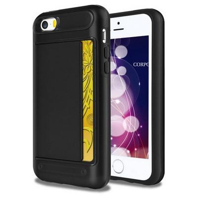 Microsonic Iphone 5s Kılıf Kredi Kartlıklı Cüzdanlı Armor Siyah Cep Telefonu Kılıfı