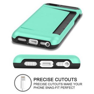 Microsonic Iphone Se Kılıf Kredi Kartlıklı Cüzdanlı Armor Rose Yeşil Cep Telefonu Kılıfı
