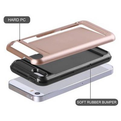 Microsonic Iphone Se Kılıf Kredi Kartlıklı Cüzdanlı Armor Rose Gold Cep Telefonu Kılıfı