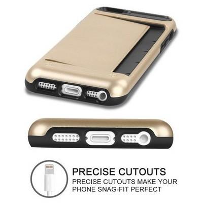 Microsonic Iphone Se Kılıf Kredi Kartlıklı Cüzdanlı Armor Gold Cep Telefonu Kılıfı